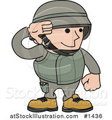 Vector Illustration of a Male Army Soldier in a Green Uniform and Helmet, Saluting with His Hand by AtStockIllustration