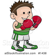 Vector Illustration of a Male Boxer in a Green and White Unfiorm, Wearing Red Gloves and Waiting for a Fight by AtStockIllustration