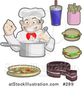 Vector Illustration of a Male Chef Cooking, Surrounded by Soda, Fries, Cheeseburgers, Cake and Piza by AtStockIllustration