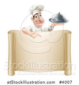 Vector Illustration of a Male Chef Holding a Platter and Pointing down at a Scroll Menu by AtStockIllustration