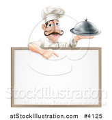 Vector Illustration of a Male Chef Holding a Platter and Pointing down at a White Board by AtStockIllustration