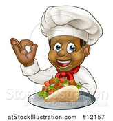 Vector Illustration of a Male Chef Holding a Souvlaki Kebab Sandwich on a Tray and Gesturing Perfect by AtStockIllustration