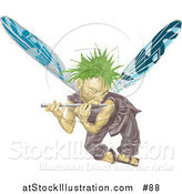 Vector Illustration of a Male Fairy with Green Hair and Blue Wings, Flying and Playing a Flute by AtStockIllustration