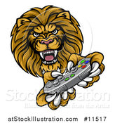 Vector Illustration of a Male Lion Playing a Video Game by AtStockIllustration