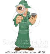 Vector Illustration of a Male Private Investigator Spy in a Green Trench Coat, Smoking a Tobacco Pipe and Looking Through a Magnifying Glass by AtStockIllustration