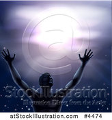 Vector Illustration of a Man in Worship, Holding His Arms up to a Purple Sky by AtStockIllustration