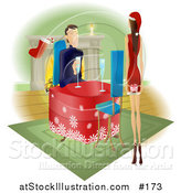 Vector Illustration of a Man Watching His Wife or Girlfriend As She Walks Towards Him with a Gift Behind Her Back by AtStockIllustration