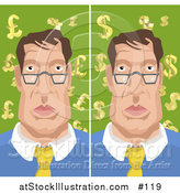 Vector Illustration of a Man with Backgrounds of Euro Pounds and Dollars by AtStockIllustration
