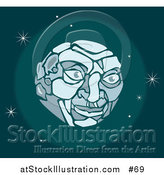 Vector Illustration of a Man's Face on the Moon in Outer Space by AtStockIllustration