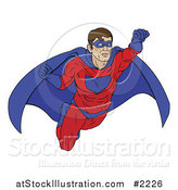 Vector Illustration of a Masked Super Hero in Flight by AtStockIllustration