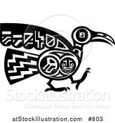 Vector Illustration of a Mayan or Aztec Bird Design in Black and White by AtStockIllustration