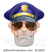 Vector Illustration of a Mean White Male Police Officer Wearing Sunglasses by AtStockIllustration