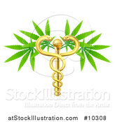 Vector Illustration of a Medical Marijuana Design with a Cannabis Plant Growing on a Gold Snake Caduceus by AtStockIllustration