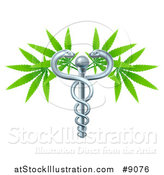 Vector Illustration of a Medical Marijuana Design with a Cannabis Plant Growing on a Silver Snake Caduceus by AtStockIllustration