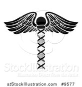 Vector Illustration of a Medical Symbol: Winged DNA Strand Rod Caduceus - White and Black Version by AtStockIllustration