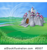 Vector Illustration of a Medieval Castle in a Valley with Sunshine in the Distance by AtStockIllustration