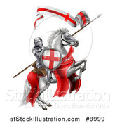 Vector Illustration of a Medieval Knight, Saint George, on a Rearing White Horse by AtStockIllustration