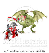 Vector Illustration of a Medieval Knight, Saint George, on a Rearing White Horse, Fighting a Dragon by AtStockIllustration