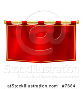 Vector Illustration of a Medieval Red Banner on a Gold Rod by AtStockIllustration