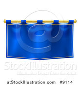 Vector Illustration of a Medieval Royal Blue Banner Falg on a Gold Rod by AtStockIllustration
