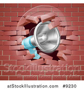 Vector Illustration of a Megaphone Breaking Through a Brick Wall by AtStockIllustration