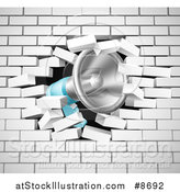 Vector Illustration of a Megaphone Breaking Through a White Brick Wall by AtStockIllustration