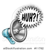 Vector Illustration of a Megaphone with a Huh Speech Bubble by AtStockIllustration