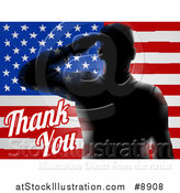 Vector Illustration of a Memorial Day Thank You Text with a Silhouetted Solder over an American Flag by AtStockIllustration