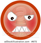Vector Illustration of a Menacing Red Emoticon - Tan Version by AtStockIllustration