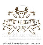Vector Illustration of a Merry Christmas Banner Featuring Reindeer, Crackers and Candy Canes by AtStockIllustration