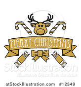 Vector Illustration of a Merry Christmas Banner with a Reindeer, Crackers and Candy Canes by AtStockIllustration