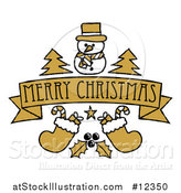Vector Illustration of a Merry Christmas Banner with Holly Stockings Trees and a Snowman by AtStockIllustration