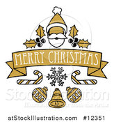 Vector Illustration of a Merry Christmas Banner with Santa, Holly, Candy Canes and Baubles by AtStockIllustration