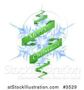 Vector Illustration of a Merry Christmas Greeting Banner Around a Snowflake by AtStockIllustration