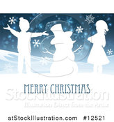 Vector Illustration of a Merry Christmas Greeting Featuring Happy Children Beside Snowman by AtStockIllustration