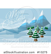Vector Illustration of a Merry Christmas Greeting over a Geometric Polygon Styled Winter Landscape with Mountains and Evergreen Trees by AtStockIllustration