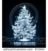Vector Illustration of a Merry Christmas Greeting Under a Blue Glowing Tree on Black by AtStockIllustration