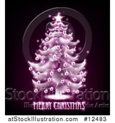 Vector Illustration of a Merry Christmas Greeting Under a Pink Glowing Tree on Black by AtStockIllustration