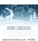 Vector Illustration of a Merry Christmas Greeting with a Reindeer in the Snow by AtStockIllustration