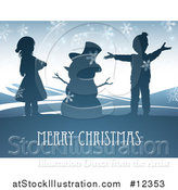 Vector Illustration of a Merry Christmas Greeting with Children and a Snowman by AtStockIllustration