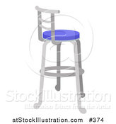 Vector Illustration of a Metal Stool with a Blue Seat by AtStockIllustration