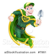 Vector Illustration of a Middle Aged Brunette Caucasian Male Super Hero Running with a Garden Trowel by AtStockIllustration