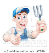 Vector Illustration of a Middle Aged Brunette White Male Gardener in Blue, Holding a Garden Fork and Thumb up by AtStockIllustration