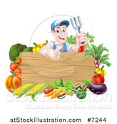 Vector Illustration of a Middle Aged Brunette White Male Gardener in Blue, Holding up a Garden Fork and Giving a Thumb up over a Blank Wood Sign with Produce by AtStockIllustration