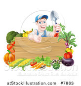 Vector Illustration of a Middle Aged Brunette White Male Gardener in Blue, Holding up a Garden Spade and Giving a Thumb up over a Blank Wood Sign with Produce by AtStockIllustration