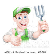 Vector Illustration of a Middle Aged Brunette White Male Gardener in Green, Holding a Garden Fork and Thumb up by AtStockIllustration