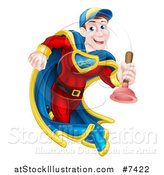 Vector Illustration of a Middle Aged Brunette White Male Plumber Super Hero Running with a Plunger by AtStockIllustration