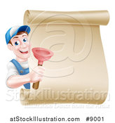 Vector Illustration of a Middle Aged Brunette White Male Plumber Wearing a Baseball Cap, Holding a Plunger Around a Scroll Sign by AtStockIllustration