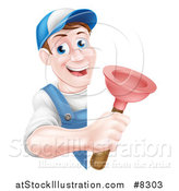 Vector Illustration of a Middle Aged Brunette White Male Plumber Wearing a Baseball Cap, Holding a Plunger Around a Sign by AtStockIllustration
