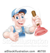 Vector Illustration of a Middle Aged Brunette White Male Plumber Wearing a Baseball Cap, Holding a Thumb up and a Plunger by AtStockIllustration